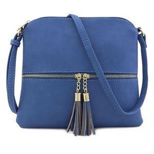 Handbags - Lightweight Crossbody Bag with Tassel in Blue